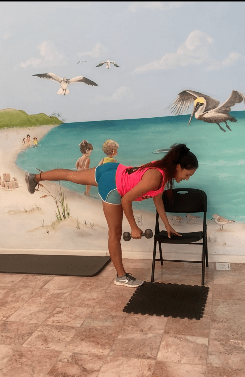 Performing a one arm row & opposite leg raise in this, the stork stance, is a more advanced way to work on your balance and your strength at the same time!